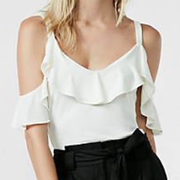 04e3f057ecbd8 Express Ivory Ruffle Overlay Cold Shoulder Blouse